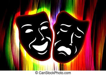 coloridos, cortina, com, máscara