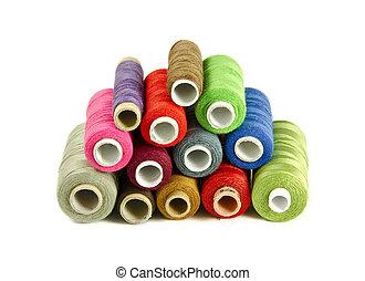 coloridos, cosendo, fios