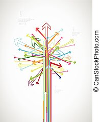 coloridos, criado, text., árvore, lugar, seta, seu