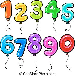 coloridos, dado forma, número, luminoso, lustroso, balões