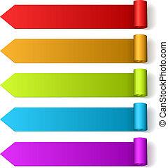 coloridos, dado forma, rolado, etiquetas, seta, em branco