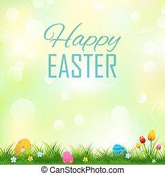 coloridos, decorado, ovos páscoa, em, capim