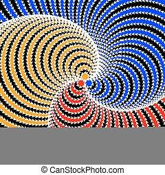 coloridos, desenho, fundo, giro, circular, ilusão, movimento
