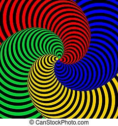 coloridos, desenho, fundo, redemoinho, movimento, ilusão, circular