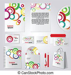 coloridos, desenho, modelo, círculo, identidade incorporada