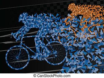 coloridos, desporto, bicicleta estrada, cavaleiros, bicicleta, silhuetas, em, urbano, estrada cidade, fundo, ilustração, vetorial