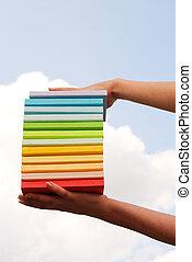 coloridos, difícil, cobertura, livros, segurar passa
