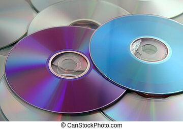 coloridos, discos compactos