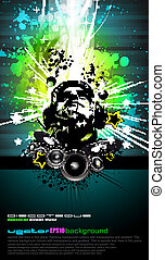 coloridos, dj, discoteca, voador, com, colours arco-íris