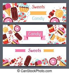 coloridos, doce, doces, bandeiras, horizontais, cakes.
