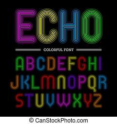 coloridos, eco, estilo, fonte, retro