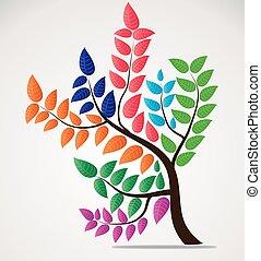 coloridos, editable, folhas, árvore, vetorial, desenho