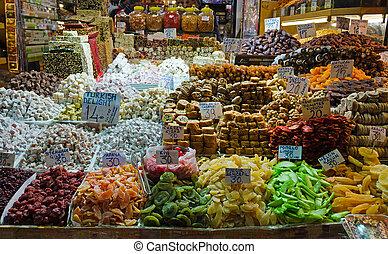 coloridos, egípcio, turco, bazar, exposição, prazeres,...
