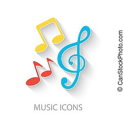coloridos, elegante, música, ícones