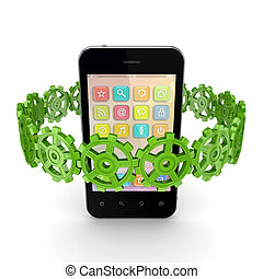 coloridos, engrenagens, ao redor, móvel, telefone.