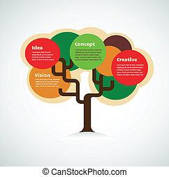 coloridos, espaço, árvore, texto, fundo, infographics