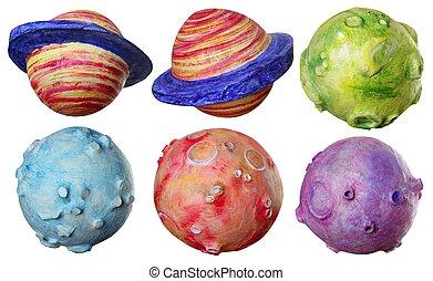 coloridos, espaço, seis, feito à mão, fantasia, planetas