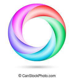 coloridos, espiral, anel