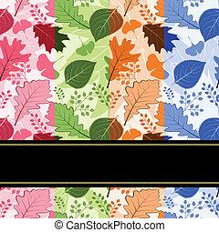 coloridos, estação, folhas, seamless, quatro, padrão