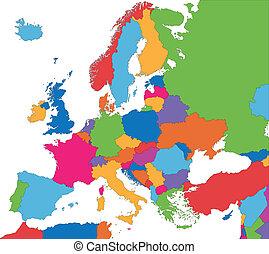 coloridos, europa, mapa