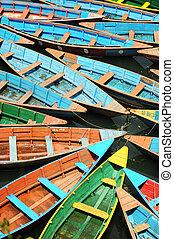 coloridos, excursão, barcos