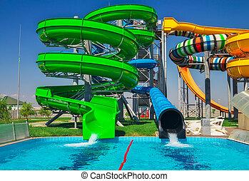 coloridos, férias, feriados, escorregar, feliz, aquapark, everyone., piscina