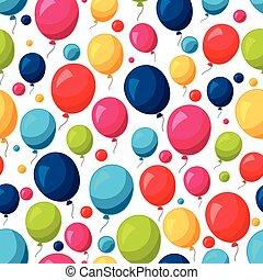 coloridos, festivo, padrão, seamless, balões, celebração