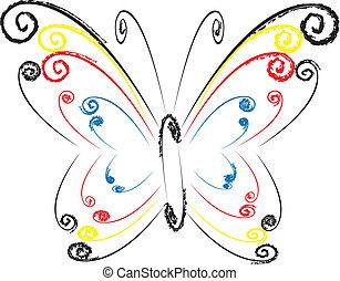 coloridos, floral, borboleta