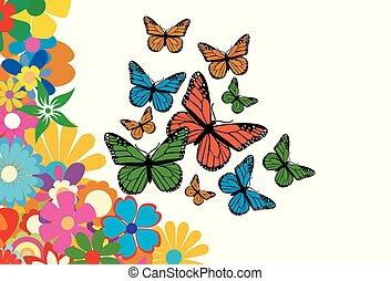 coloridos, flores mola, com, borboleta, vetorial, ilustração