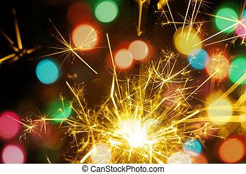 coloridos, fogo, bengal, experiência., bokeh, ano, sparkler, novo, natal