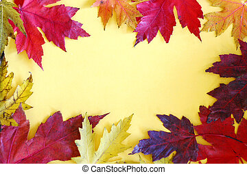 coloridos, folhas, amarela, outono, fundo, quadro