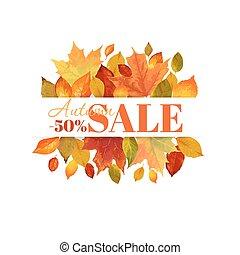 coloridos, folhas, -, venda, outono, vetorial, fundo