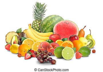 coloridos, fruta, arranjo, isolado, branco