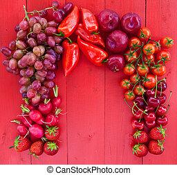 coloridos, frutas frescas, e, veggies