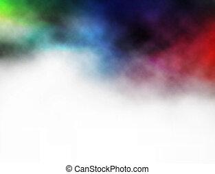 coloridos, fumaça, fundo