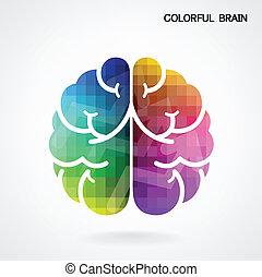 coloridos, fundo, cérebro, criativo, idéia, conceito