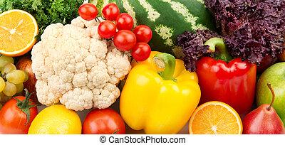coloridos, fundo, de, frutas legumes