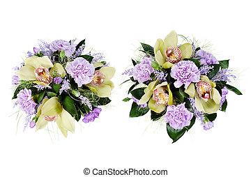 coloridos, fundo, isolado, rosas, buquet, floral, cravinhos, orquídeas, branca