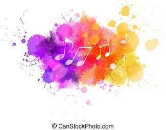 coloridos, fundo, música