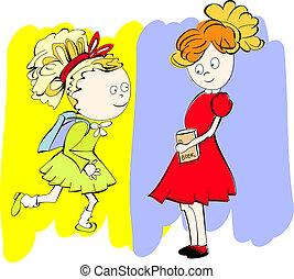coloridos, fundo, schoolgirls, dois