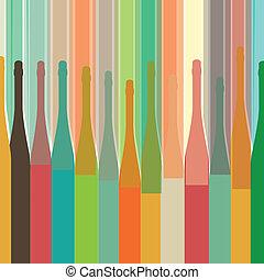 coloridos, garrafa, experiência