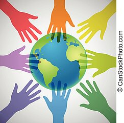 coloridos, globo, muitos, unidade, cercar, mãos, mundo,...