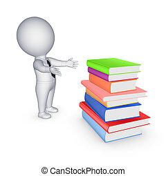 coloridos, grande, books., pessoa, pequeno, pilha, 3d