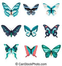 coloridos, grande, isolado, cobrança, white., butterflies.
