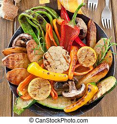 coloridos, grelhados, verão, legumes
