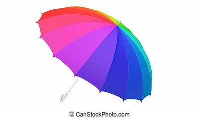 coloridos, guarda-chuva, animação 3d