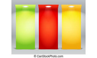 coloridos, iluminado, placas