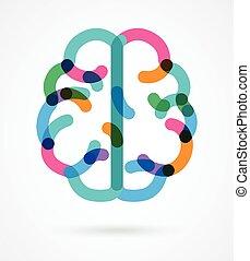 coloridos, ilustração, -, cérebro, vetorial