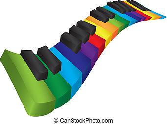 coloridos, ilustração, ondulado, teclado, piano, 3d