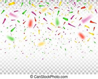 coloridos, ilustração, pieces., vetorial, defocused, fundo, confetti., confetti, queda, celebração